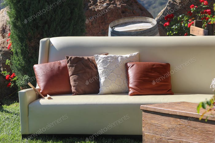 Cushions on an outdoor couch.