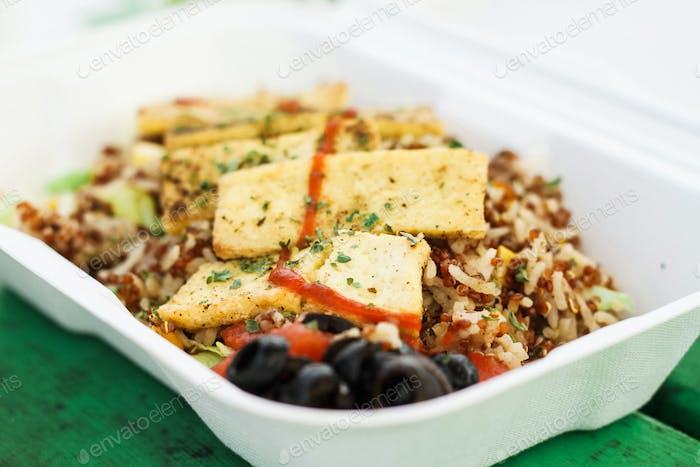 A vegan dish from a vegetarian food truck in Austin, TX