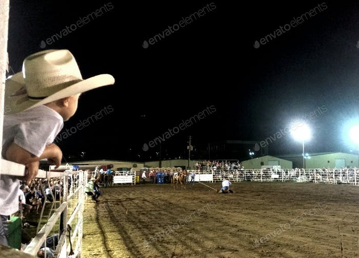 Little cowboy watching rodeo in his future.
