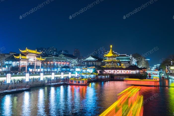 Templo de Confucio (Fuzimiao) en Jiangsu, Jiangning, Nanjing, China, 1 de enero de 2015