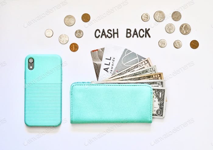 Cash back rewards on credit cards, electronic pay and checking account. Coins cash phone checkbook