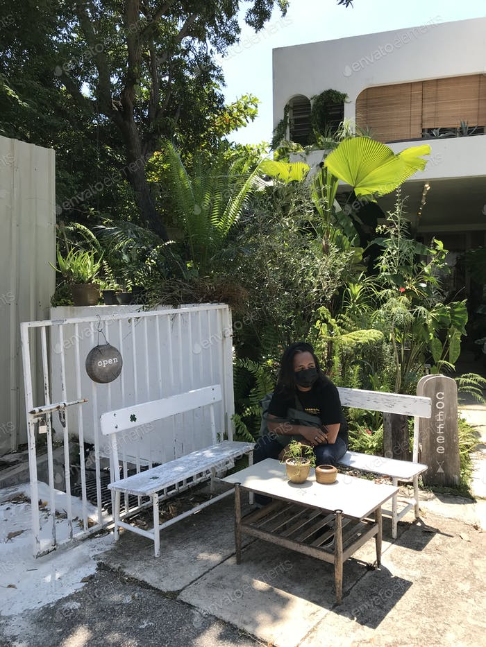 man chill at outdoor living space