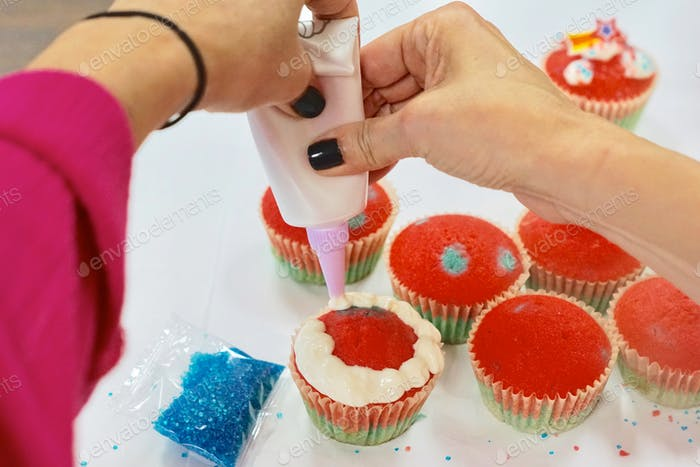 Making homemade patriotic cupcakes for the 4th of July