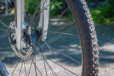Closeup of bicycle tire