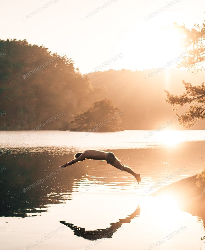 Diving in sunset