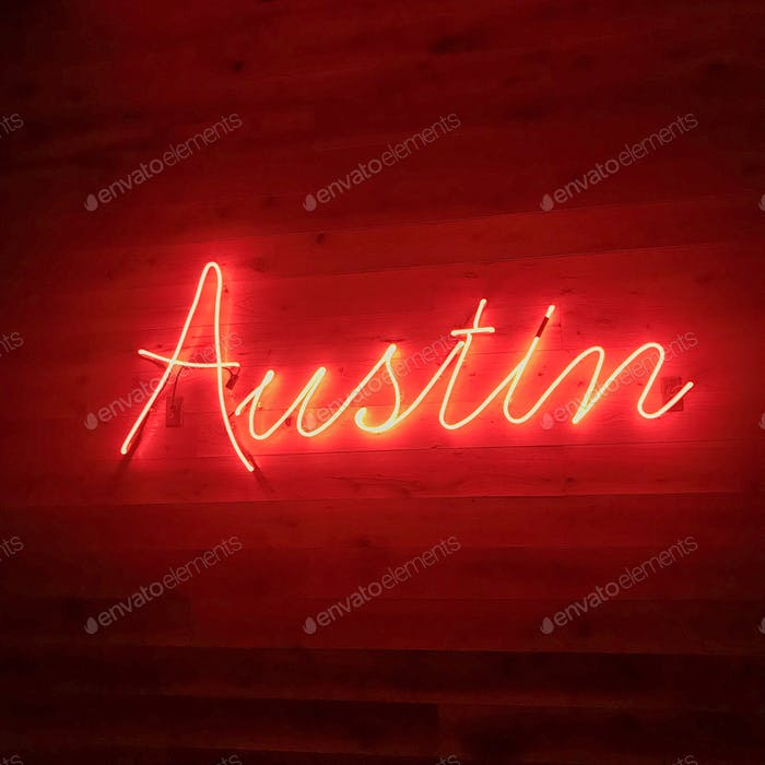 Neon Sign at Austin Visitor Center
