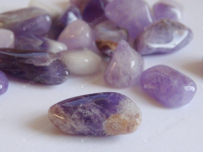 Amethyst purple gemstone close up
