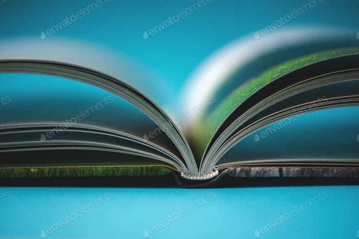 An open book of a photo album standing on the table