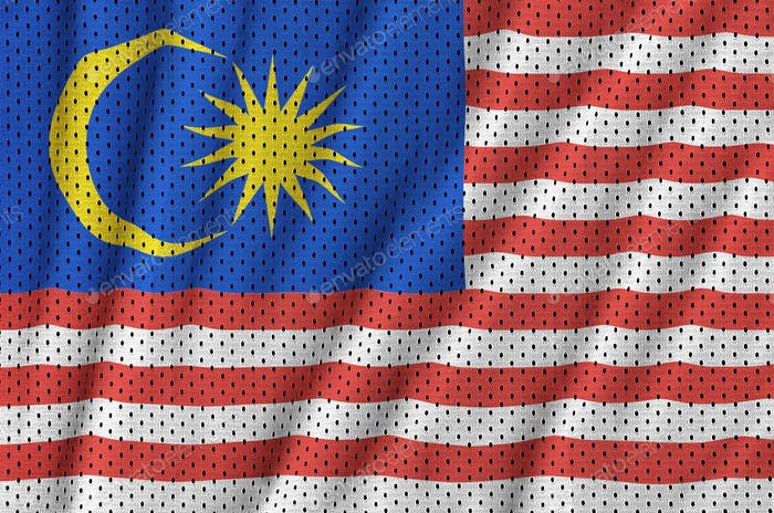 Malaysia flag printed on a polyester nylon sportswear mesh fabric with some folds