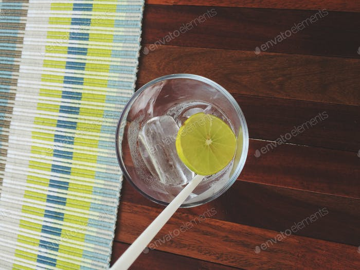 Soda water with lime