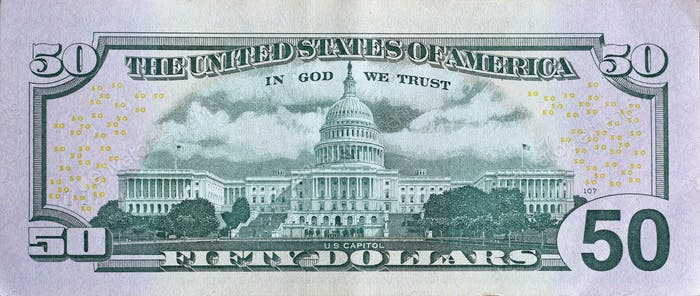 US Capitol on 50 dollars banknote back side closeup macro fragment
