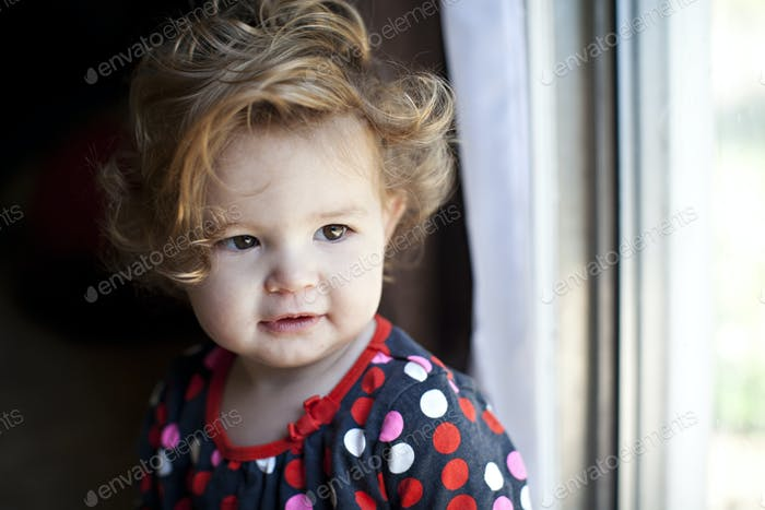 Toddler with curly hair