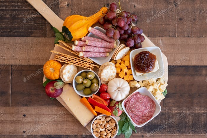 Fall theme charcuterie board for holiday entertaining