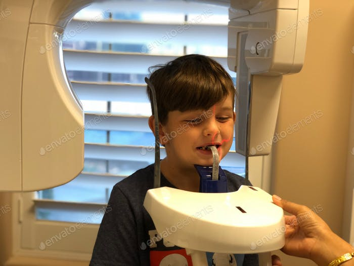 Little boy at the orthodontist