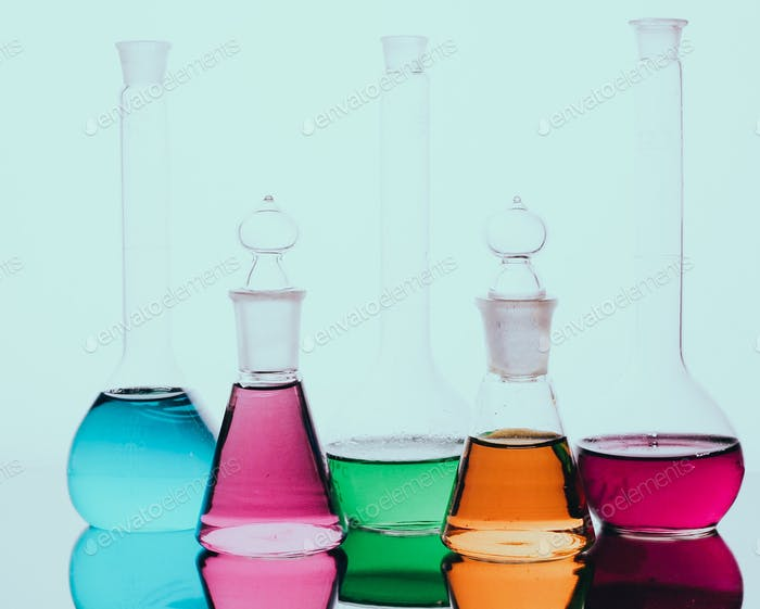 Chemistry and science. Flasks with fluids. Chemical science. Chemical industry