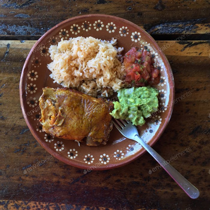 Chicken, rice, guacomole, and salsa cooked in a Mayan village in Tulum, MX!