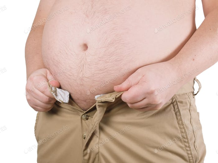 overweight man with fat belly