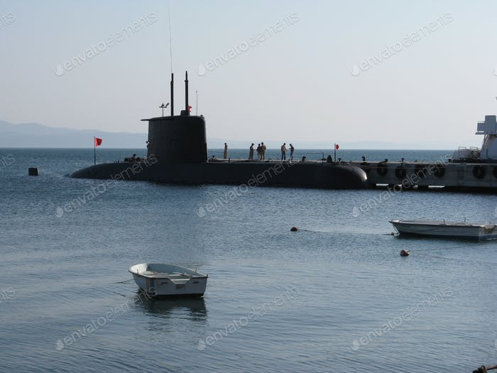 Submarine on the port waiting.