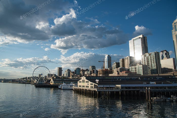 Seattle waterfront with skyline