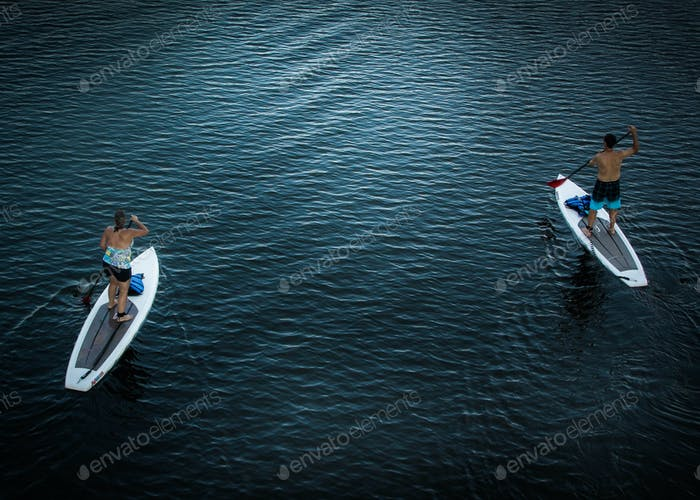 A couple on paddle boarding.