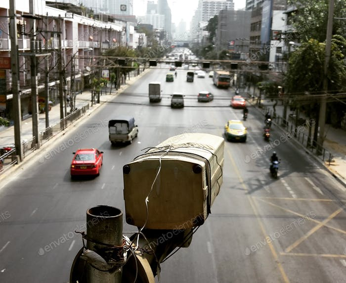 CCTV monitoring the street in Bangkok, Thailand