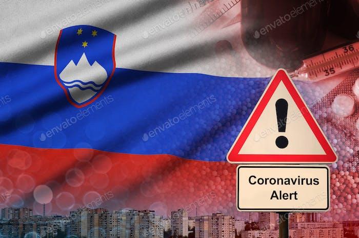 Slovenia flag and Coronavirus 2019-nCoV alert sign