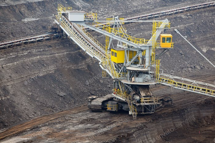 aerial view in coal mine with bucket wheel excavator. destruction of nature. fossil energy.