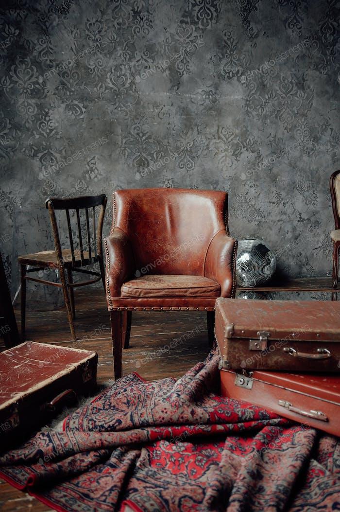 Vintage furniture in loft interior