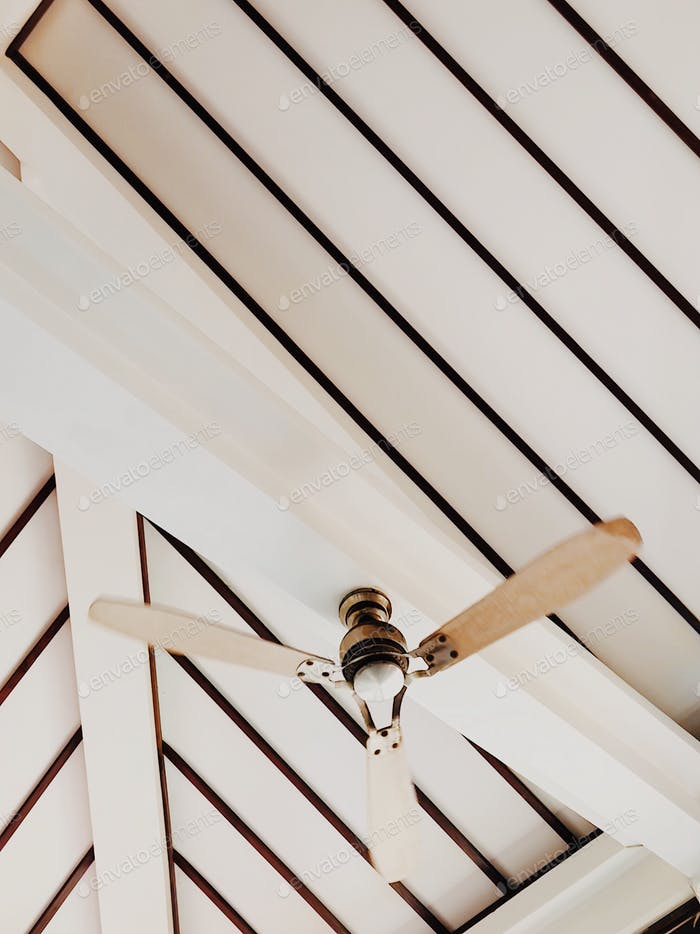 Aesthetic ceiling in wood with fan