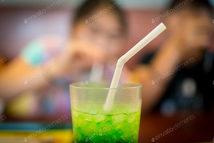 Melon Soda with a Straw