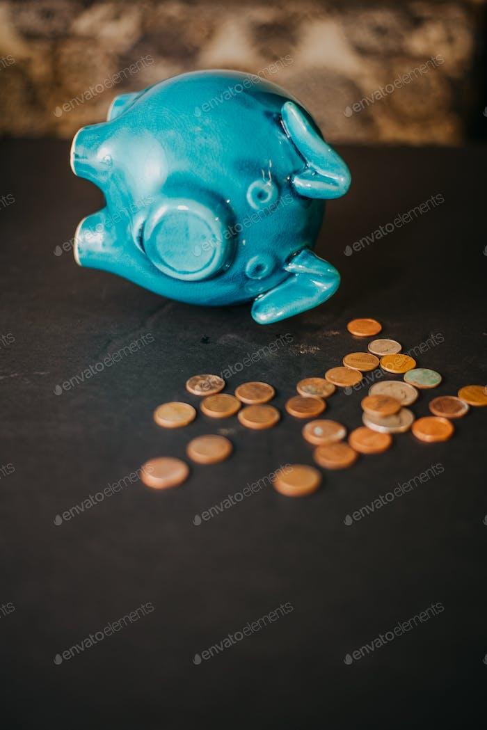 A piggy bank with money