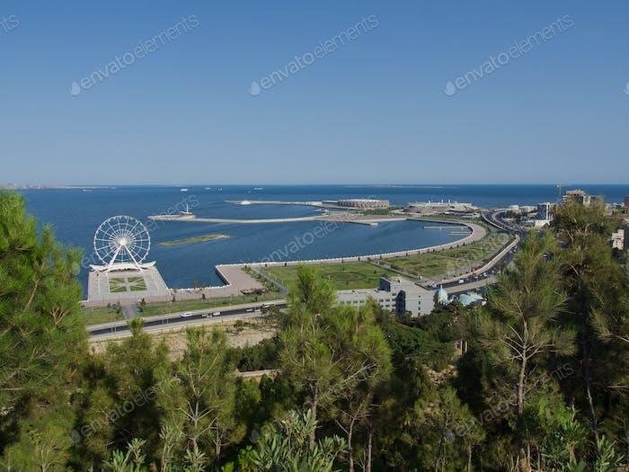 Baku, city in Azerbaijan, view to the sea