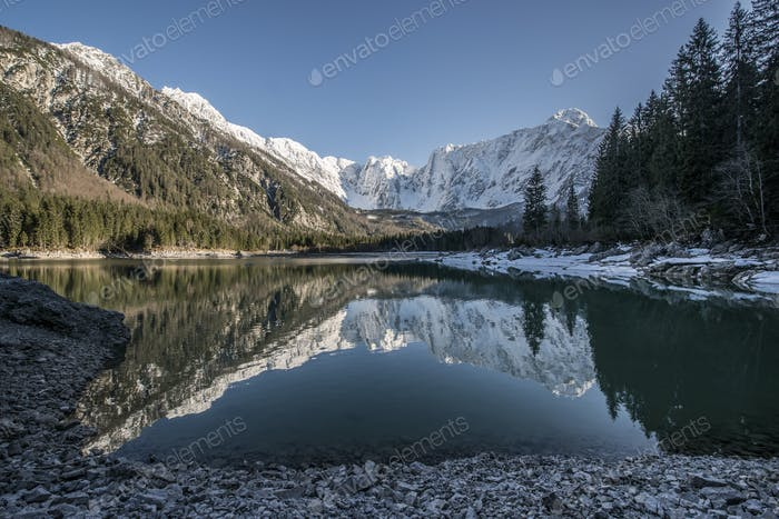 Beautiful reflection of the mountains in the lake