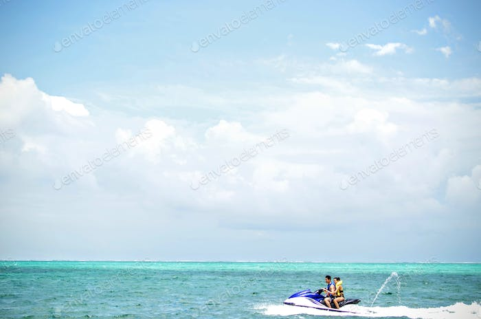 Jet skiing on the coast of Ambergris, Belize.