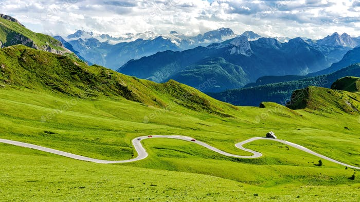 Aerial view of Winding road on a mountain pass in italian dolomites.