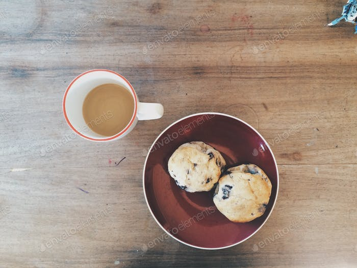 Blueberry scones and coffee