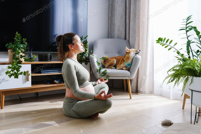 Pregnant female doing prenatal yoga at home in the living room in the early morning. Morning rituals