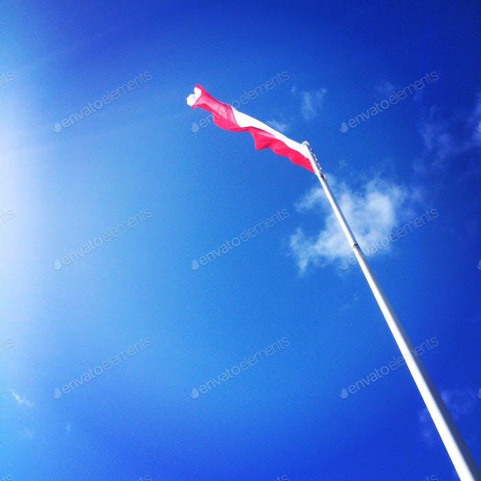 flag, patriotism, blue sky, sun