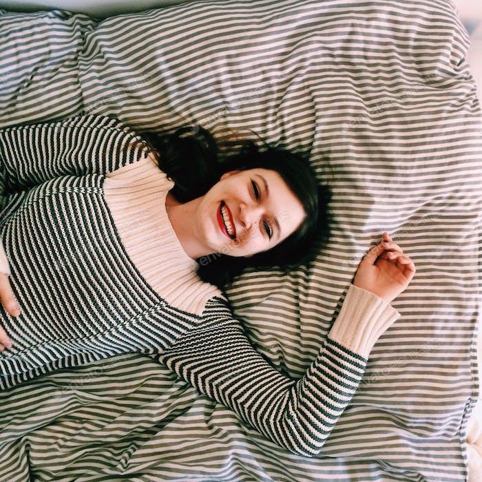Happy girl in stripes