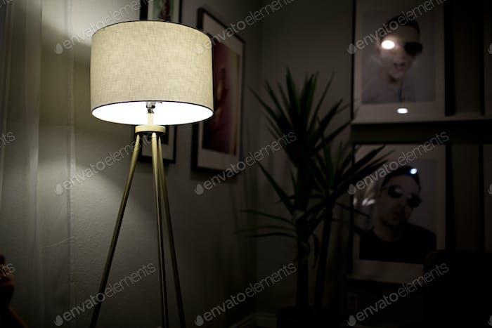 lamp in a dark room