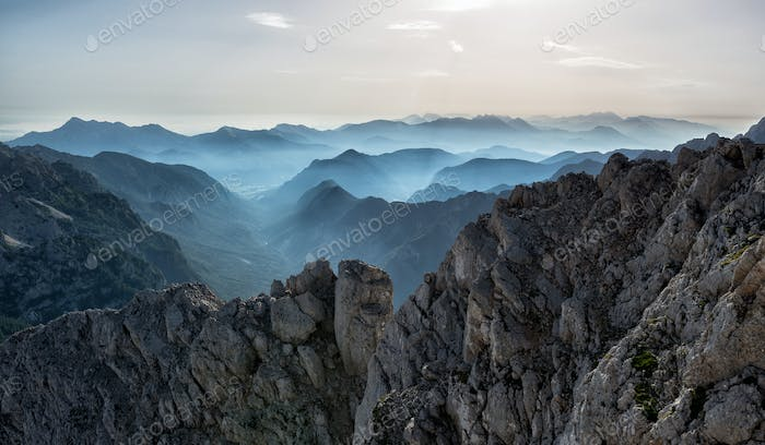 Hazy view from mountain top