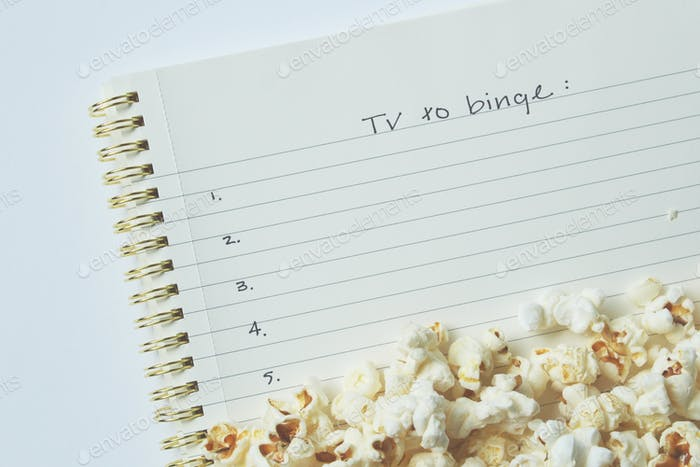 Tv to binge notes with popcorn