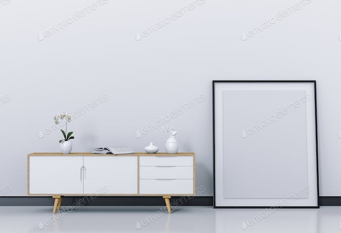 Interior living Room with sideboard and mockup blank poster. 3d render