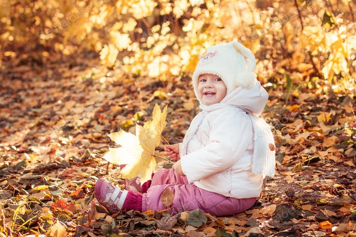 Smiling toddler girl sitting in the autumn leaves in the park