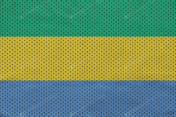 Gabon flag printed on a polyester nylon sportswear mesh fabric with some folds