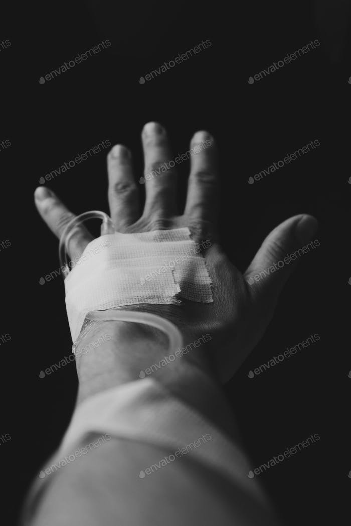 Hand with saline solution