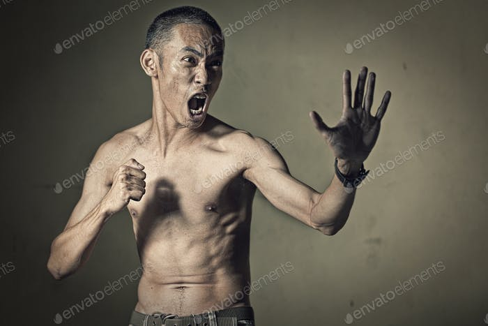 Man in a fighting stance