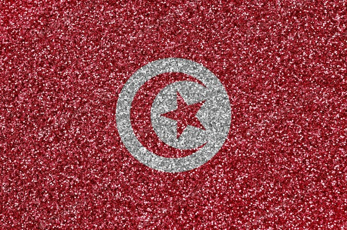 Tunisia flag depicted on many small shiny sequins. Colorful festival background for disco party