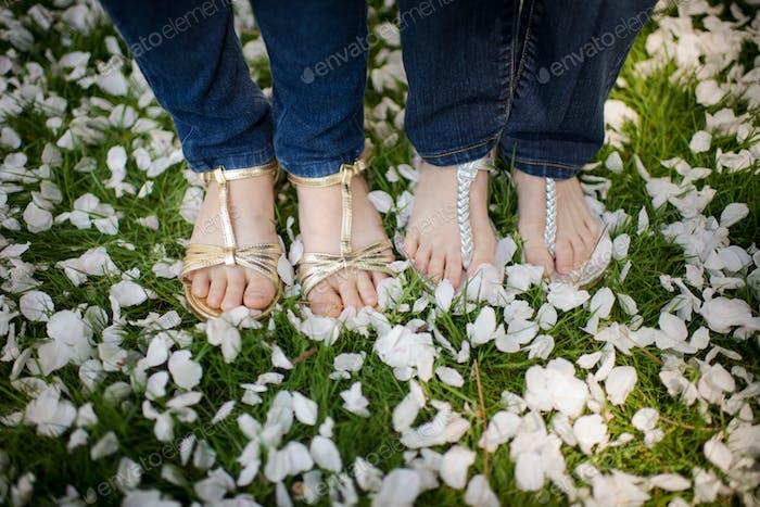 Girls in their fancy sandals