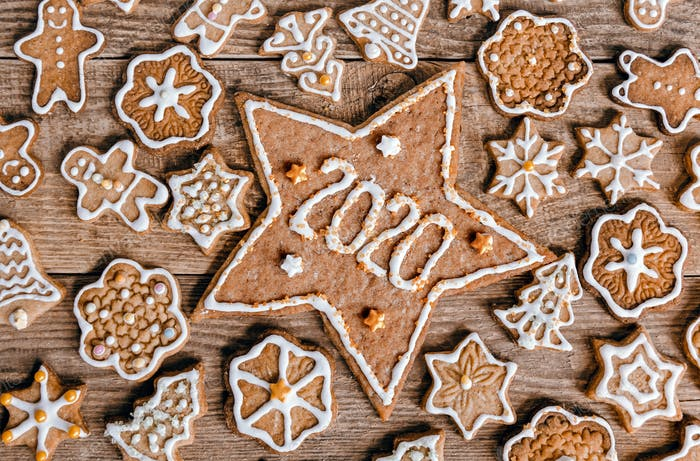Overhead, directly above photo of christmas cookies.